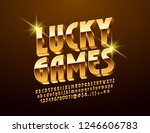 Stock vector vector bright logo lucky games golden d font stylish alphabet letters numbers and symbols 1246606783