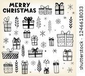 hand drawn set of christmas... | Shutterstock .eps vector #1246618033