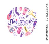 nail studio circle concept with ... | Shutterstock .eps vector #1246673146