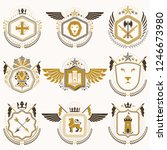 heraldic emblems with wings... | Shutterstock .eps vector #1246673980