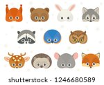 Stock vector vector icon set of cute forest animals squirrel brown bear white hare or rabbit wolf raccoon 1246680589