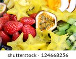 abundance of sliced tropical... | Shutterstock . vector #124668256