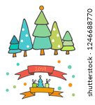 doodle christmas elements. hand ... | Shutterstock .eps vector #1246688770