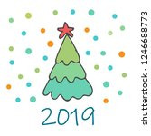 doodle christmas elements. hand ... | Shutterstock .eps vector #1246688773