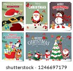 Vintage Christmas poster design with vector snowman, reindeer, penguin, Santa Claus, elf, characters.