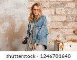 attractive stylish blonde woman ... | Shutterstock . vector #1246701640