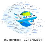 plane airliner with earth... | Shutterstock .eps vector #1246702939