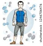 happy brunet young adult man... | Shutterstock .eps vector #1246706476