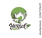 green herbal  organic tea ...   Shutterstock .eps vector #1246725619