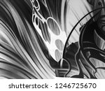 abstract black and white waves  ... | Shutterstock . vector #1246725670