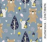 seamless pattern with cute bear.... | Shutterstock .eps vector #1246738696