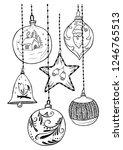 vector hand drawn set of... | Shutterstock .eps vector #1246765513