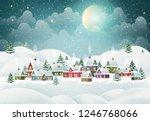 winter village landscape with... | Shutterstock .eps vector #1246768066