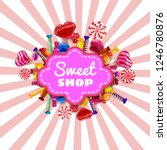 sweet shop candy template set... | Shutterstock .eps vector #1246780876