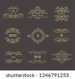 set of line gold monograms.... | Shutterstock .eps vector #1246791253