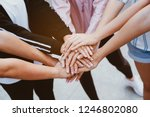 close up at the hands many... | Shutterstock . vector #1246802080