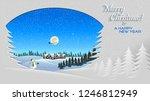 christmas themed greeting card... | Shutterstock .eps vector #1246812949