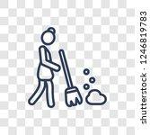 broom icon. trendy linear broom ... | Shutterstock .eps vector #1246819783