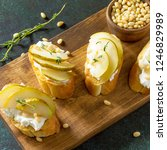 antipasti snacks for wine.... | Shutterstock . vector #1246829989