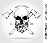 hand drawn sketch  skull with... | Shutterstock .eps vector #1246830229