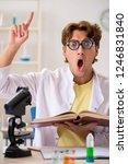 funny crazy chemist doing... | Shutterstock . vector #1246831840