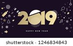 happy new year 2019. vector... | Shutterstock .eps vector #1246834843