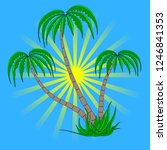 set of different palm trees on... | Shutterstock .eps vector #1246841353