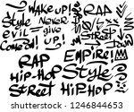 many graffiti tags on a white... | Shutterstock .eps vector #1246844653