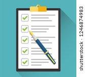 clipboard with checklist vector | Shutterstock .eps vector #1246874983
