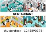 isometric restaurant cooking... | Shutterstock .eps vector #1246890376