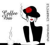 coffee bar illustration with...   Shutterstock . vector #1246895713