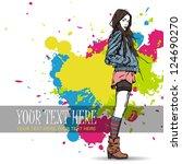 lovely young girl in sketch... | Shutterstock .eps vector #124690270