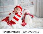 christmas portrait of cute... | Shutterstock . vector #1246923919
