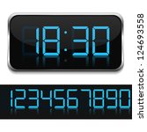 Blue Digital Clock  Vector...