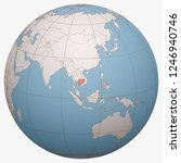 cambodia on the globe. earth... | Shutterstock .eps vector #1246940746