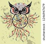 dream catcher with owl. boho... | Shutterstock .eps vector #1246947679