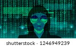a hacker girl wearing black... | Shutterstock .eps vector #1246949239
