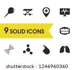 healthcare icons set with enema ...