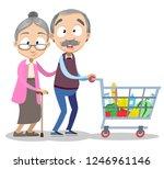 cartoon elderly couple doing...   Shutterstock .eps vector #1246961146