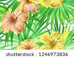 green yellow exotic pattern.... | Shutterstock .eps vector #1246973836