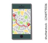 mobile phone with a map of the... | Shutterstock . vector #1246975036