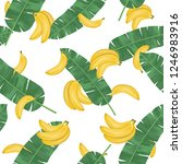 seamless pattern with banana... | Shutterstock .eps vector #1246983916