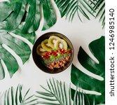 fresh avocado and kiwi smoothie ... | Shutterstock . vector #1246985140