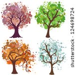 vector seasonal trees with... | Shutterstock .eps vector #124698724