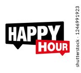 happy hour label sign | Shutterstock .eps vector #1246991923