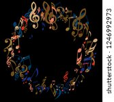 wreath of musical signs.... | Shutterstock .eps vector #1246992973