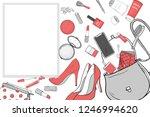 women's handbag with cosmetics  ...   Shutterstock .eps vector #1246994620