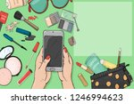 hand with a smartphone and...   Shutterstock .eps vector #1246994623
