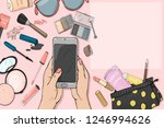 hand with a smartphone and...   Shutterstock .eps vector #1246994626
