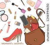 women's handbag with cosmetics  ...   Shutterstock .eps vector #1246994650